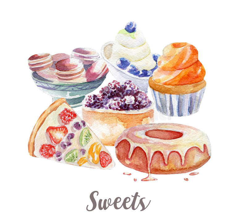 Desserts illustration. Hand drawn watercolor on white background. Desserts illustration. Hand drawn watercolor vector illustration