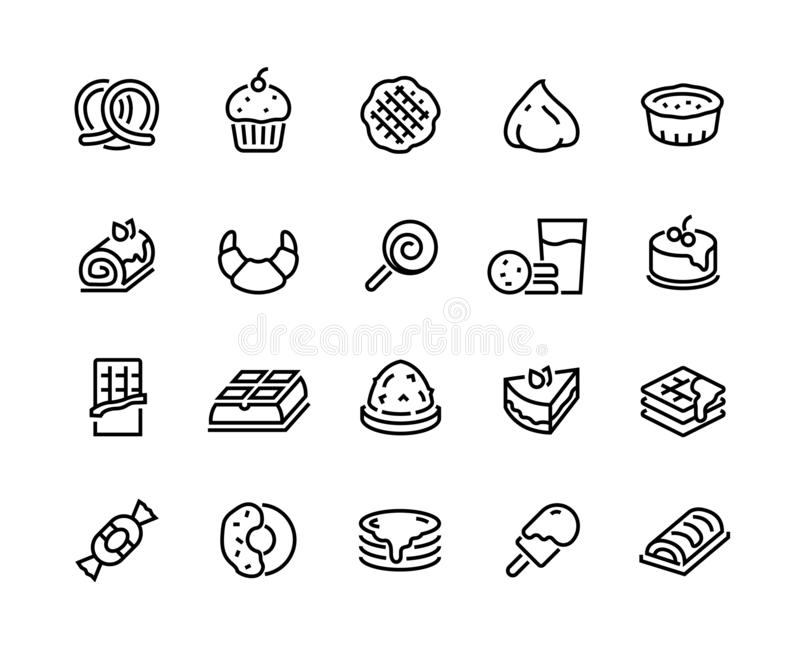 Desserts line icons. Sweet food cakes waffles biscuits donuts and bakery, croissant chocolate pie and cookies. Vector vector illustration