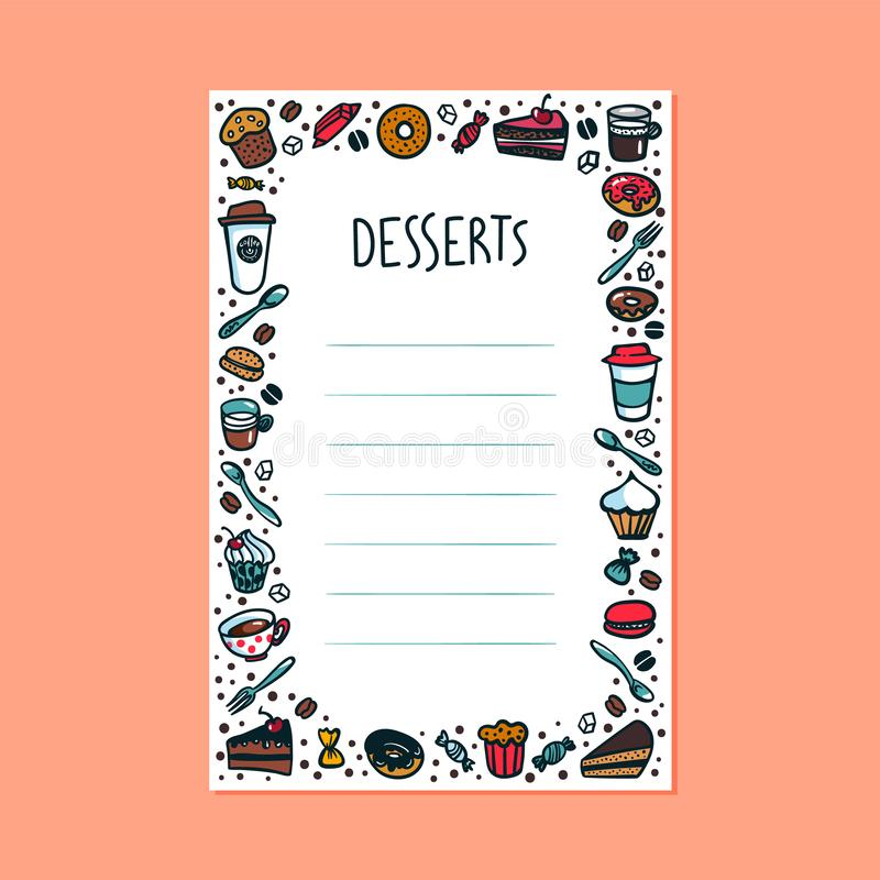 Desserts menu template. Colorful doodle style coffee cups, pastry and cakes on light background with copy space. Exellent for menu design. A4 size proportion vector illustration