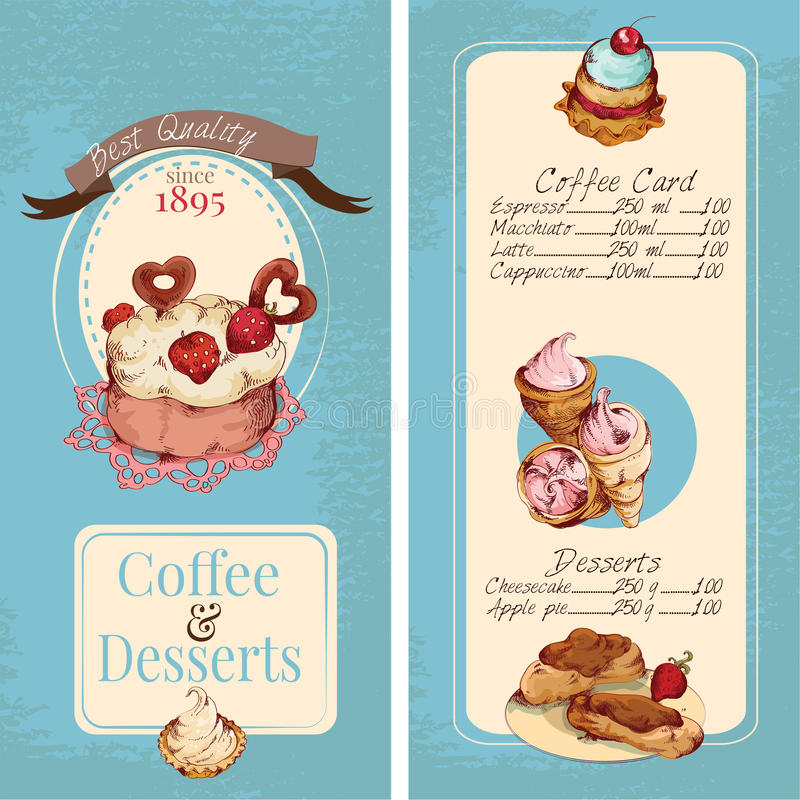 Desserts menu template. Food sweets bakery and pastry sketch colored desserts menu template vector illustration royalty free illustration
