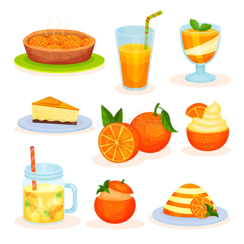 Desserts oranges de fruit frais, tarte fraîchement cuit au four, jus, mousse, gâteau, illustrations de vecteur de pudding sur un  illustration de vecteur