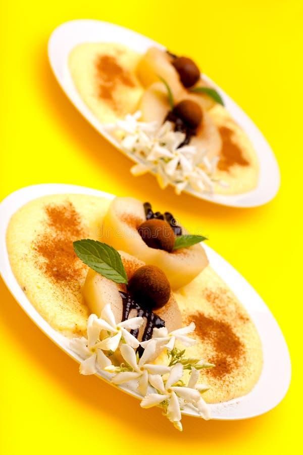 Desserts: Pears And Vanilla Cream royalty free stock photo