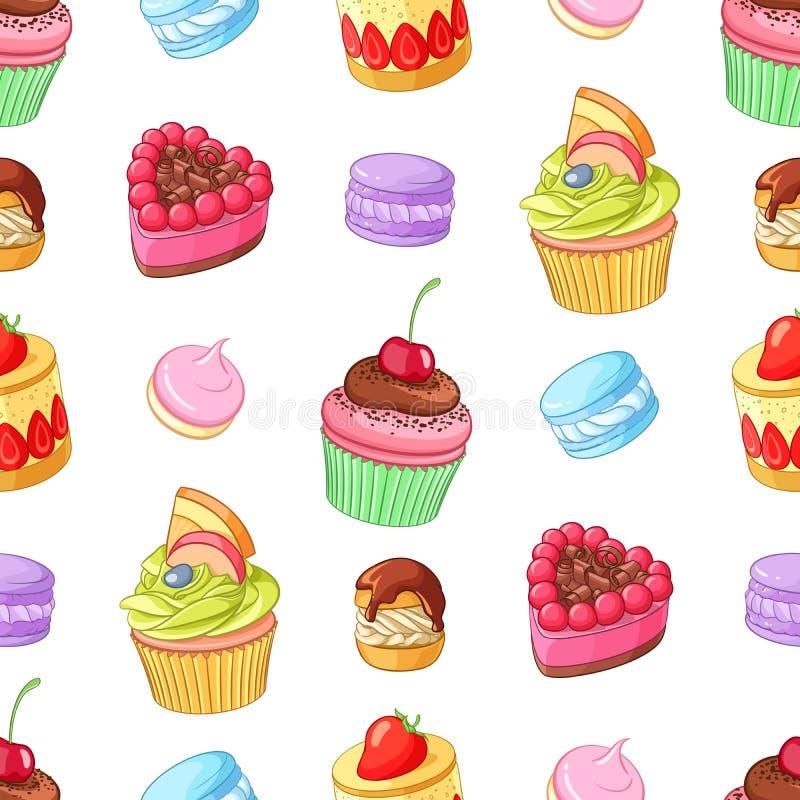Download Desserts, Petits Gâteaux Et Macarons Colorés Assortis Configuration Sans Joint De Vecteur Illustration de Vecteur - Illustration du mignon, fruit: 76080590