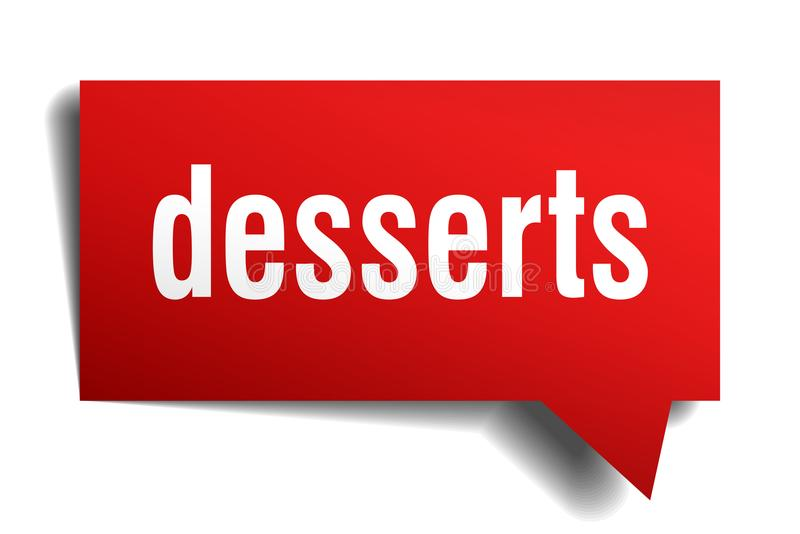 Desserts red 3d speech bubble. Desserts red 3d square isolated speech bubble royalty free illustration