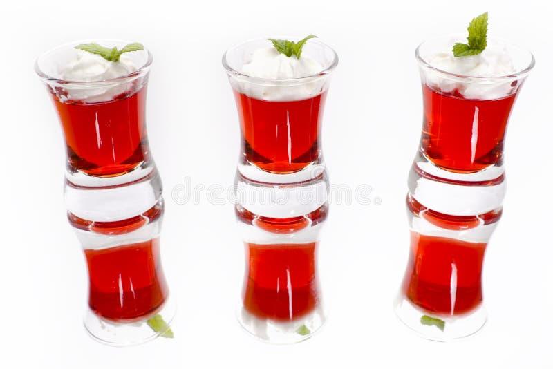 Desserts rouges de gelée de fruit image stock