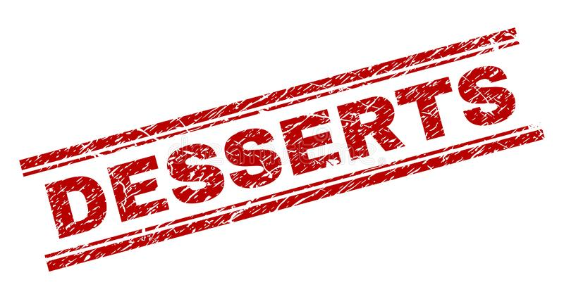Scratched Textured DESSERTS Stamp Seal. DESSERTS seal print with grunge effect. Red vector rubber print of DESSERTS title with grunge texture. Text title is royalty free illustration