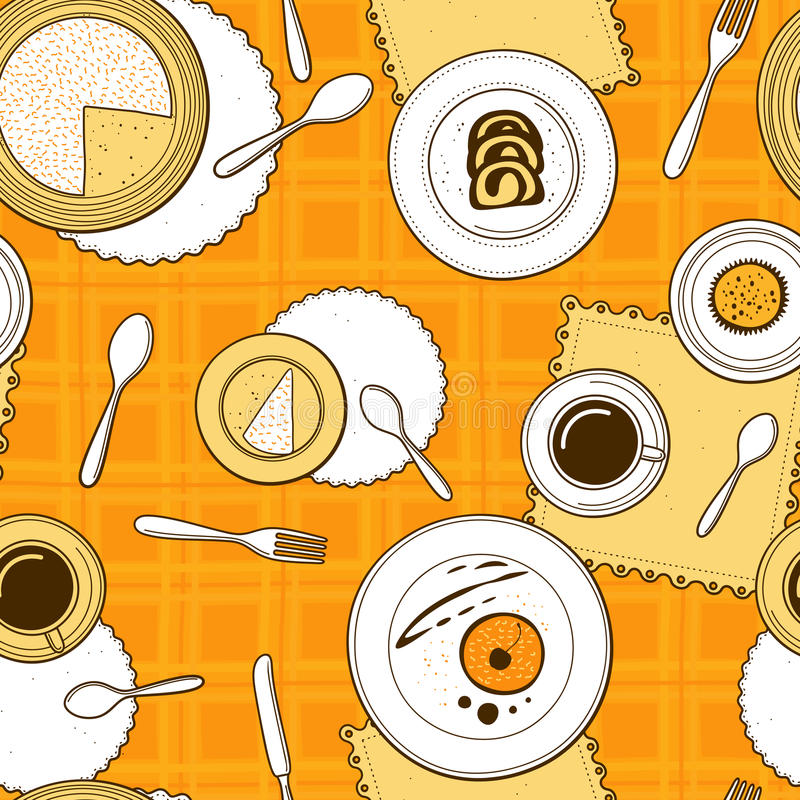 Desserts seamless pattern. Hand-drawn various dishware with desserts at a table with yellow checkered tablecloth. Vector background stock illustration