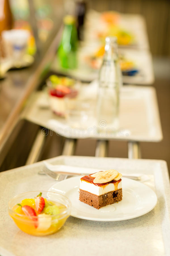 Download Desserts On Serving Tray Cafeteria Self Service Stock Image - Image: 24724491