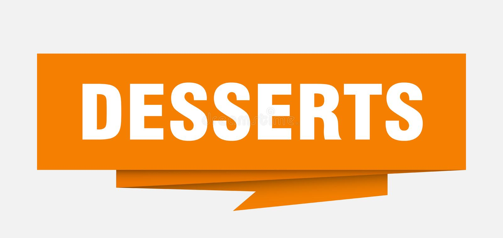 Desserts. Sign.  paper origami speech bubble.  tag.  banner vector illustration