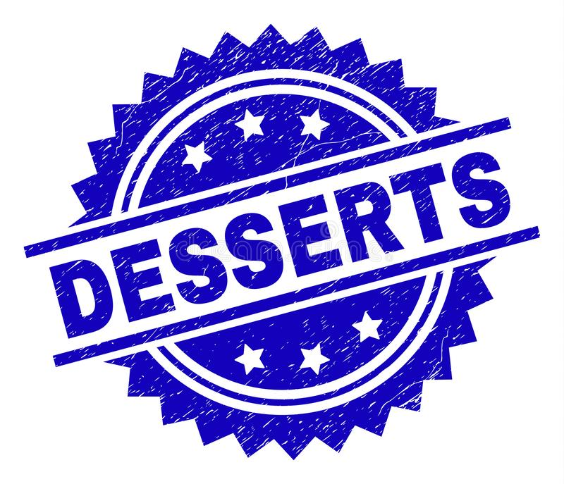 Scratched Textured DESSERTS Stamp Seal. DESSERTS stamp seal watermark with distress style. Blue vector rubber print of DESSERTS title with scratched texture vector illustration