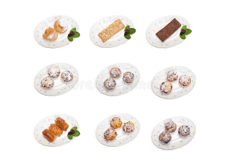 desserts sur un fond blanc images stock