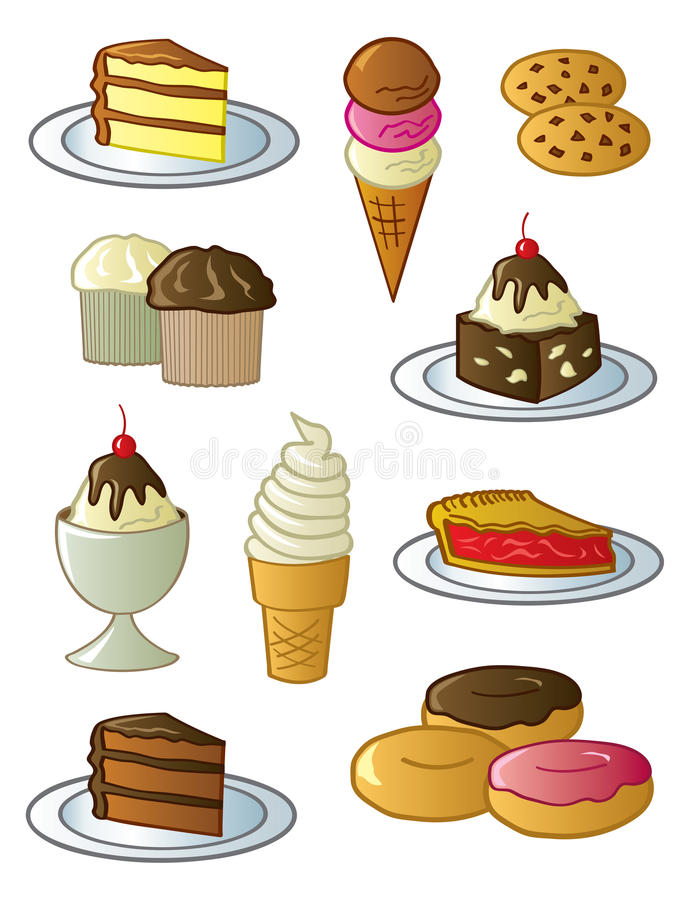 Desserts And Sweets. Assorted fun desserts and sweets drawn in a fun cartoon style vector illustration