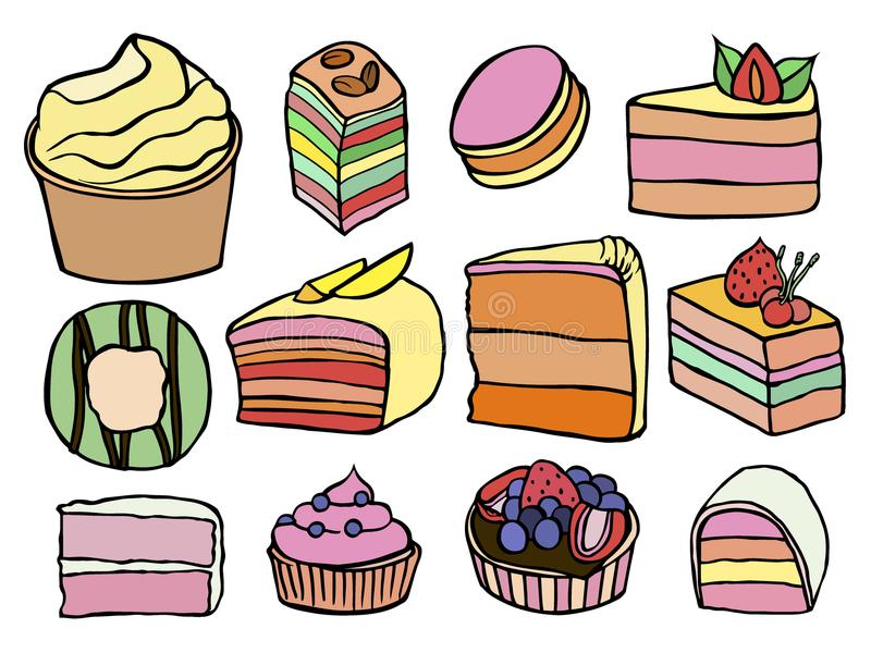 Desserts and sweets color. Desserts and sweets sketch color isolated on white background. Hand drawing illustration vector royalty free illustration