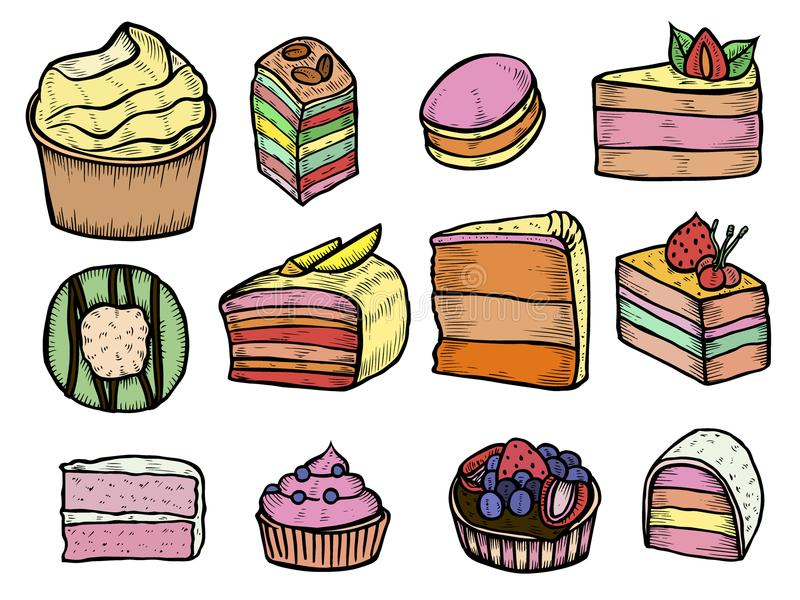 Desserts and sweets color. Isolated on white background. Hand drawing illustration vector. Cheesecake, macaroons, meringues, muffin, waffles, donuts, croissant stock illustration