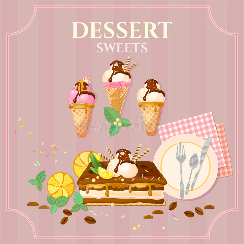 Desserts and sweets cupcake cake ice cream. Chocolate cream vector illustration royalty free illustration