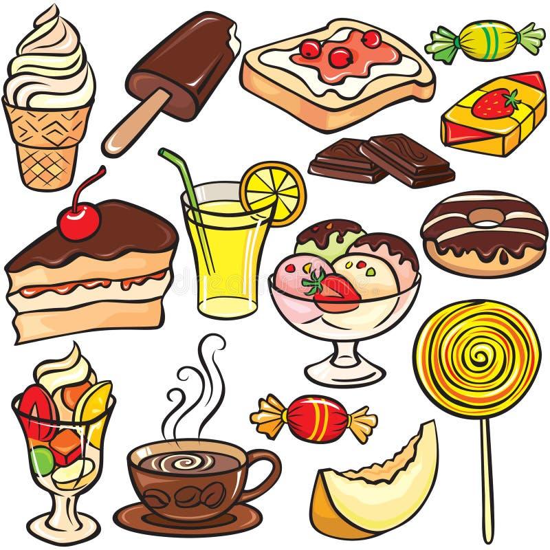 Desserts, sweets, drinks icon set stock illustration