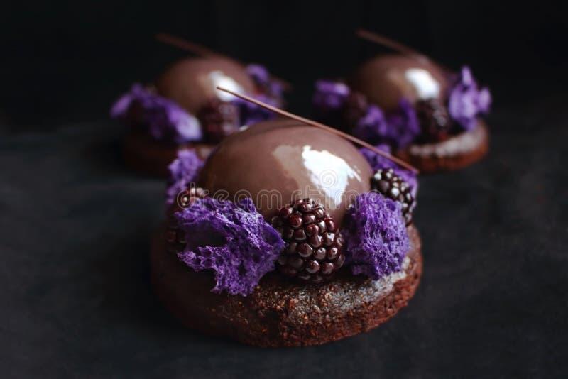 Desserts vitr?s de chocolat et de m?re avec l'?ponge pourpre de micro-onde et baies fra?ches sur le fond noir de velours images stock