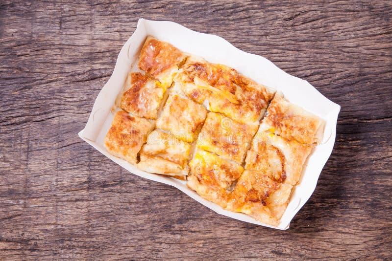 Dessertstijl van gebraden Roti met banaan royalty-vrije stock afbeeldingen