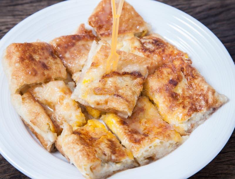 Dessertstijl van gebraden Roti met banaan royalty-vrije stock fotografie