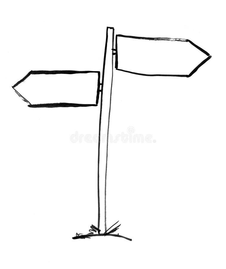 Dessin à l'encre noire de main de courrier de signe de décision de deux flèches illustration stock