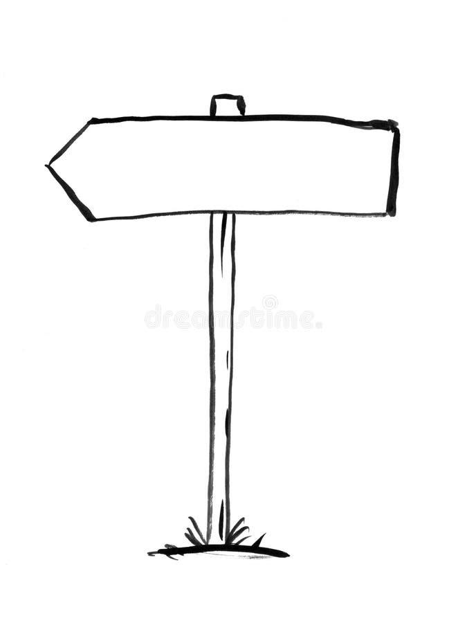 Dessin à l'encre noire de main de courrier de signe de décision de flèche illustration de vecteur