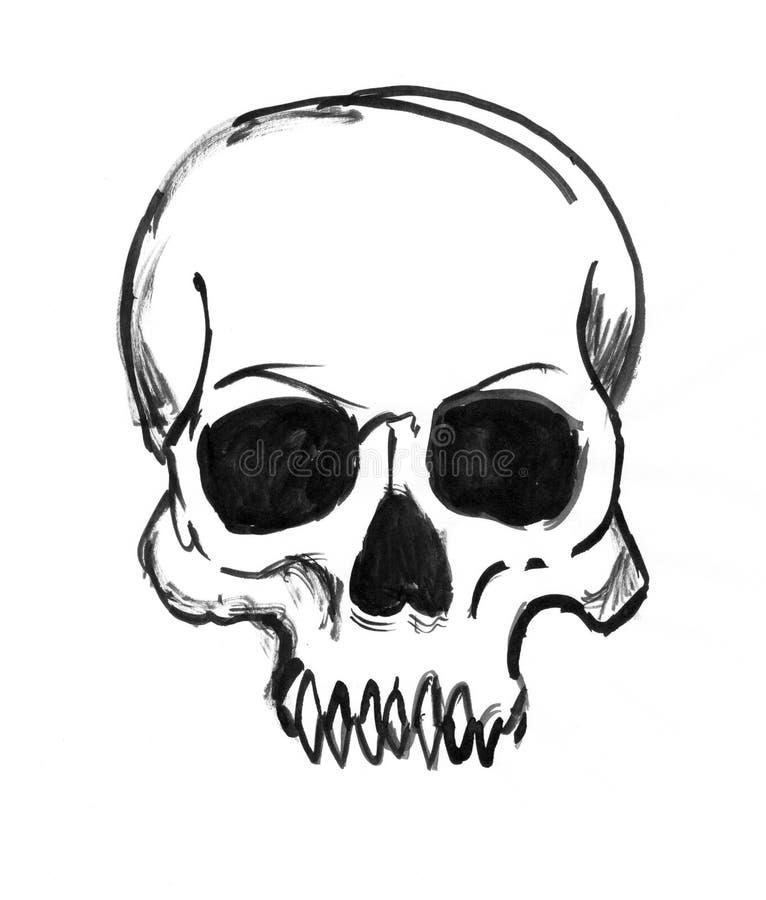 Dessin à l'encre noire de main de crâne humain illustration libre de droits