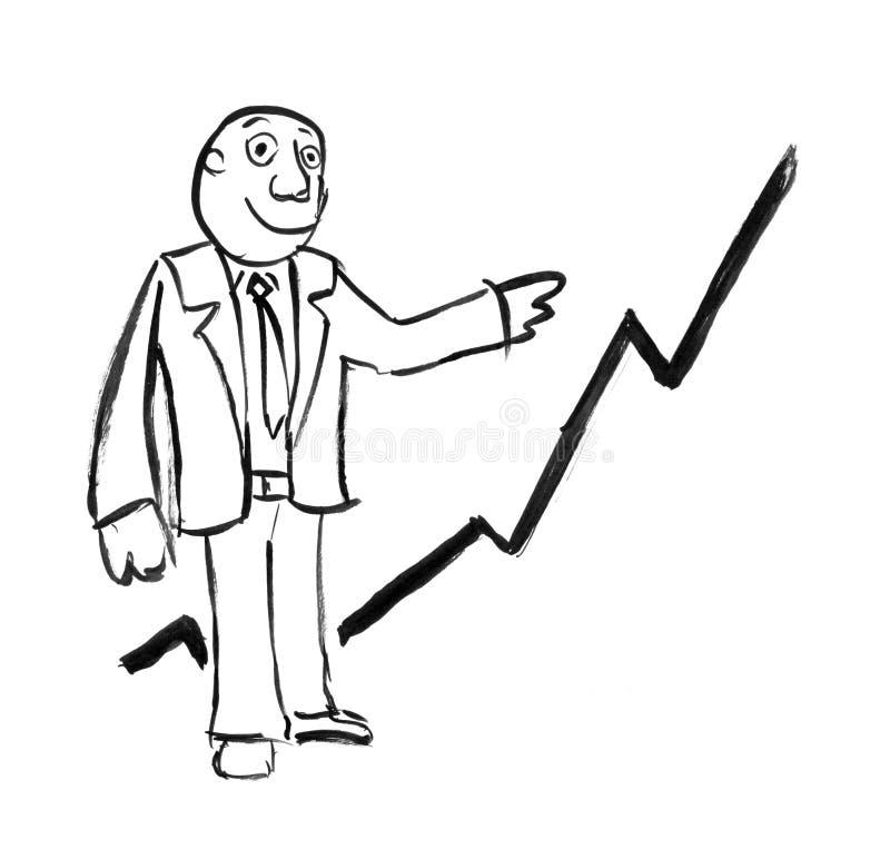 Dessin à l'encre noire de main d'homme d'affaires Presenting Rising Graph illustration stock