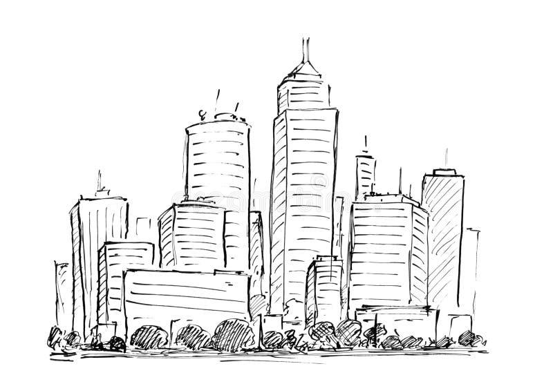 Dessin à l'encre noire de main du paysage urbain ayant beaucoup d'étages de ville générique avec des bâtiments de gratte-ciel illustration stock