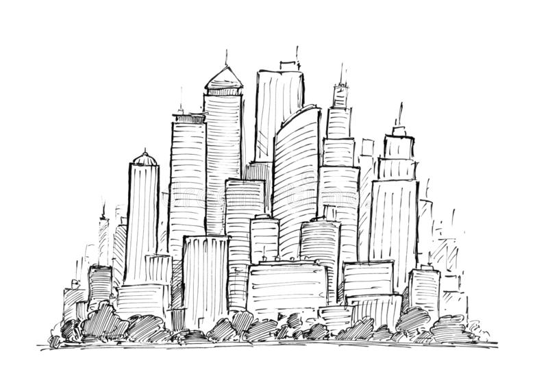 Dessin à l'encre noire de main du paysage urbain ayant beaucoup d'étages de ville générique avec des bâtiments de gratte-ciel illustration libre de droits
