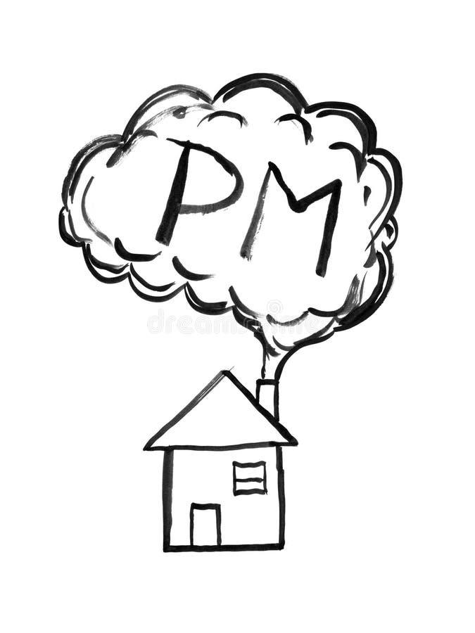 Dessin à l'encre noire de main de fumée venant concept de la cheminée de Chambre, des particules ou de P.M. de pollution atmosphé illustration libre de droits
