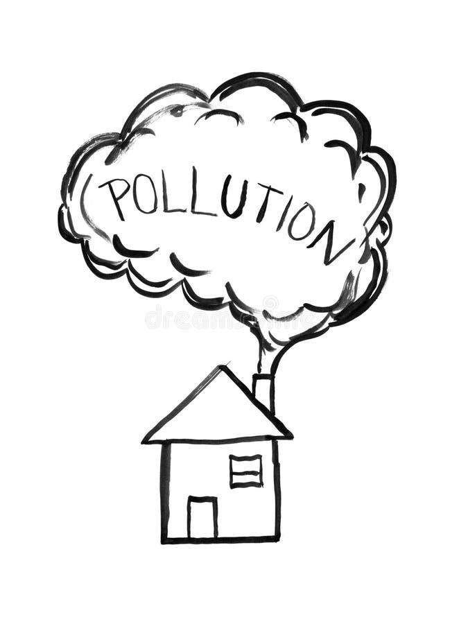 Dessin à l'encre noire de main de fumée venant de la cheminée de Chambre, concept de pollution atmosphérique illustration de vecteur