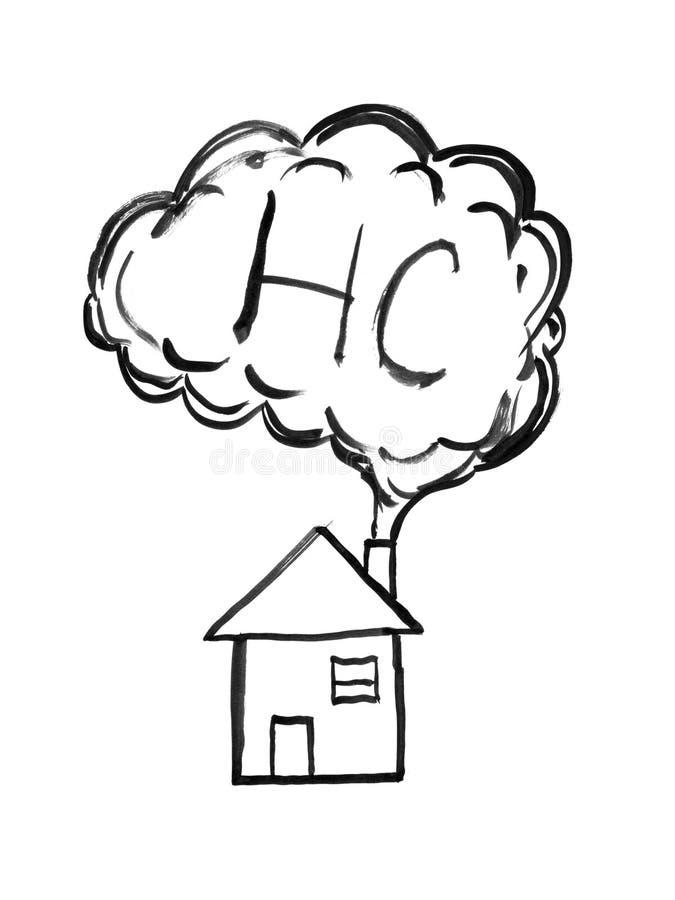 Dessin à l'encre noire de main de fumée venant de la cheminée de Chambre, du HC ou du concept de pollution atmosphérique d'hydroc illustration libre de droits