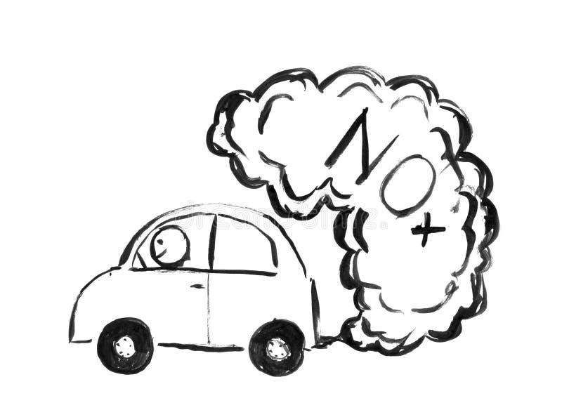 Dessin à l'encre noire de main de voiture produisant la pollution atmosphérique de NOx illustration de vecteur