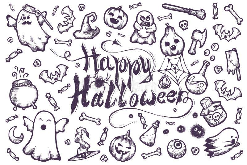Dessin à la main de nombreux doodles de dessin animé d'Halloween photos stock