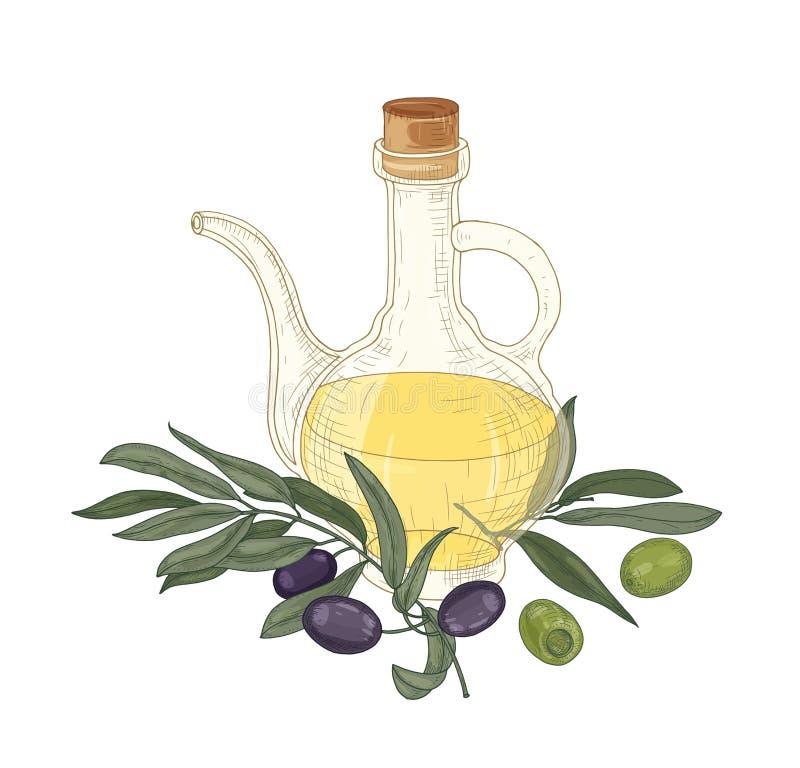 Dessin élégant d'huile vierge supplémentaire dans la cruche en verre, branches d'olivier avec des feuilles, fruits noirs et verts illustration libre de droits