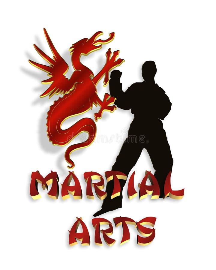 Dessin 3D de logo d'arts martiaux illustration libre de droits
