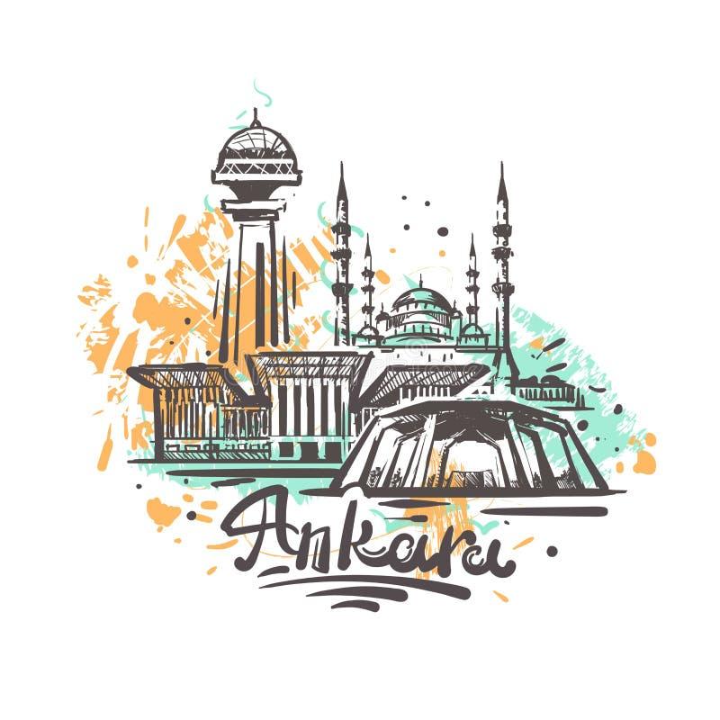 Dessin abstrait de couleur d'Ankara Illustration de croquis d'Ankara illustration de vecteur