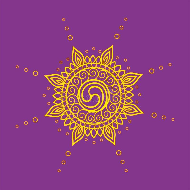 Dessin abstrait de découpe de l'emblème du soleil illustration libre de droits