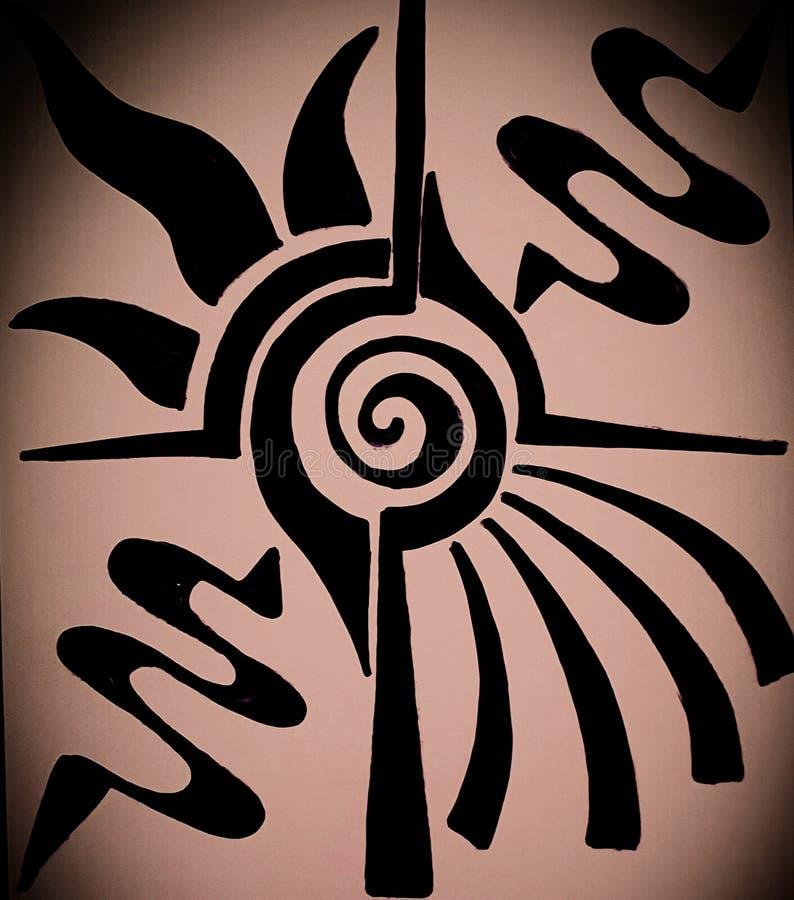 Dessin abstrait de main inspiré par des rayons du soleil de lever de soleil et l'excitation du nouveau jour illustration stock
