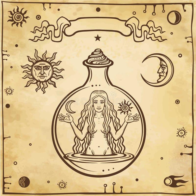 Dessin alchimique : la jeune belle femme dans un tube à essai illustration stock