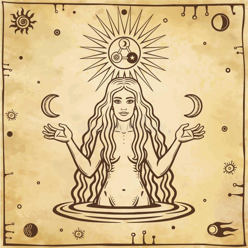 Dessin alchimique : la jeune belle femme juge des lunes disponibles illustration de vecteur