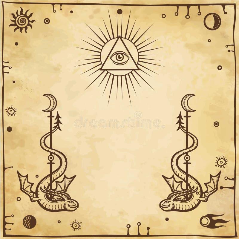 Dessin alchimique : serpents à ailes, tout-voyant l'oeil illustration stock