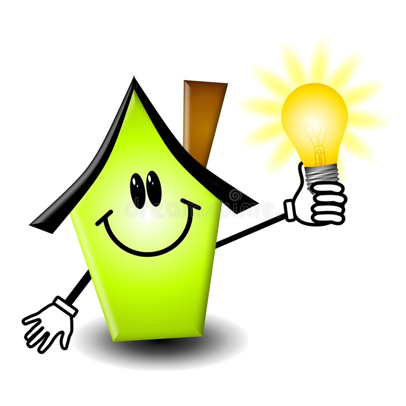 Dessin animé à la maison d'ampoule d'énergie illustration stock