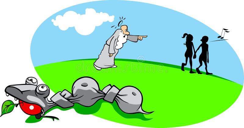 Dessin animé Adam et Eva illustration stock