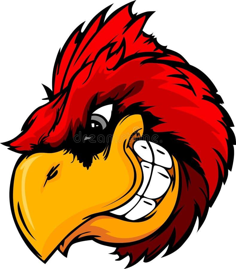 Dessin animé cardinal ou rouge de chef d'oiseau illustration libre de droits