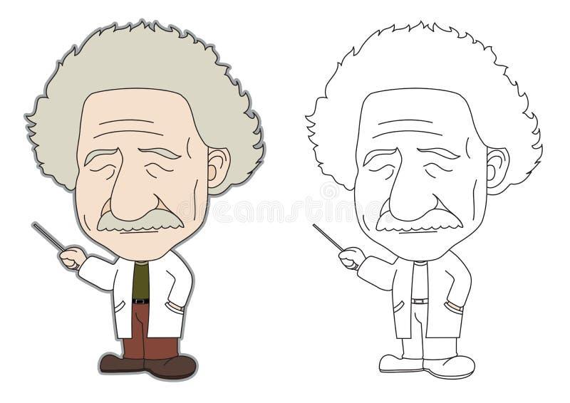 Dessin animé d'Einstein illustration libre de droits