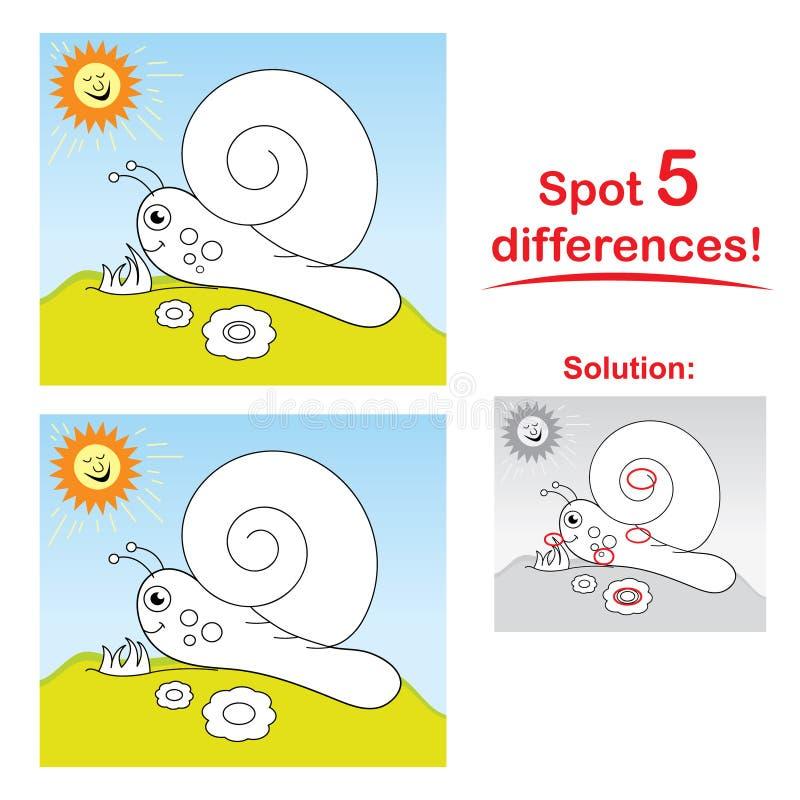 Dessin animé d'escargot : Différences de l'endroit 5 ! illustration de vecteur