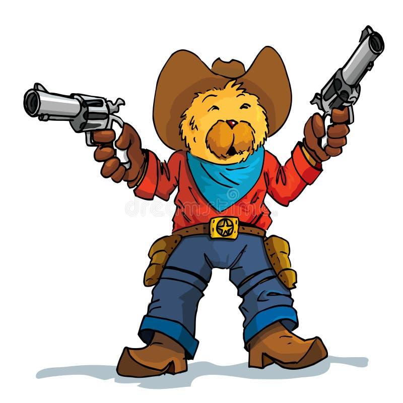 Dessin animé d'un cowboy d'ours avec des canons illustration stock