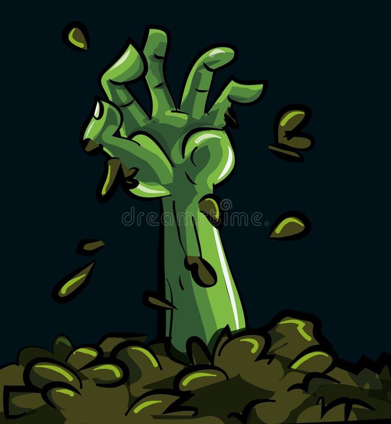 Dessin animé d'une main verte de zombi illustration stock
