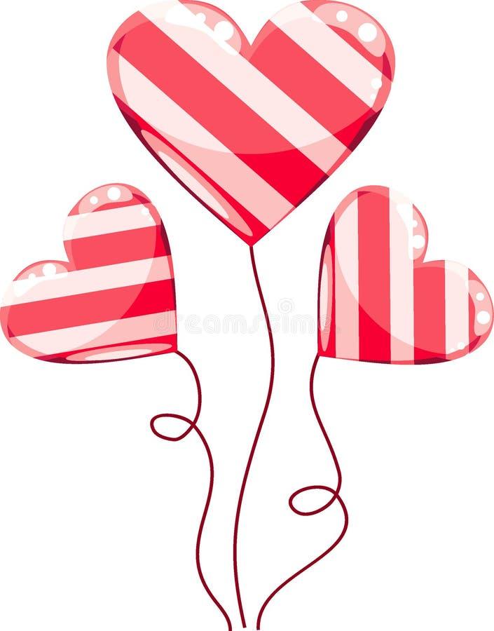 Dessin animé de ballons de coeurs de Valentines illustration libre de droits